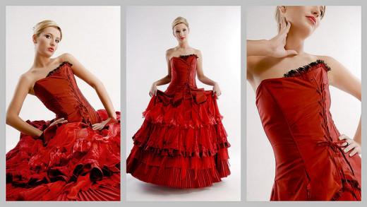 Red Wedding Dress - Gothic Wedding Dress - Victorian Wedding Dress