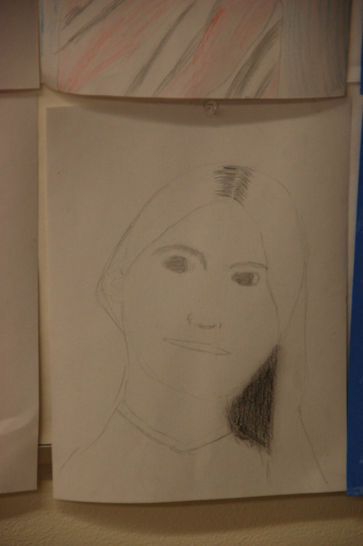 one of my fourth grade student's self-portraits