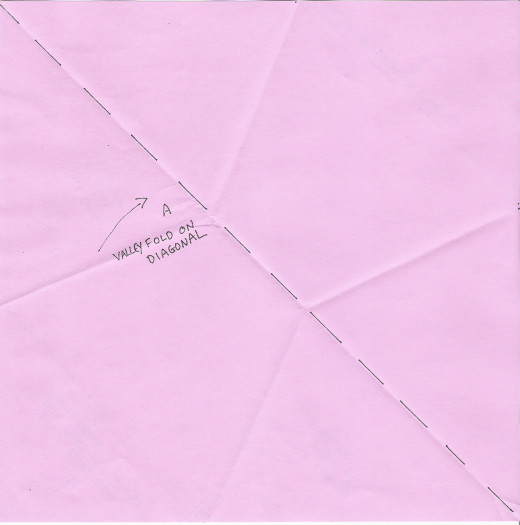 Front side of paper with fold A marked