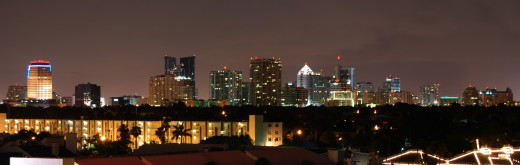 Fort Lauderdale skyline at night.  The city relies to large extent on tourism for its prosperity and has over ten million visitors per year according to 2006 figures.