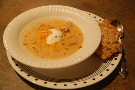 Ready to eat, I served the soup with hot pepper beer bread - so good!