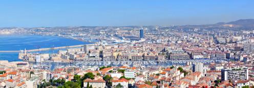 The Old Port, Marseille, viewed from Notre-Dame-de-la-Garde Basilica