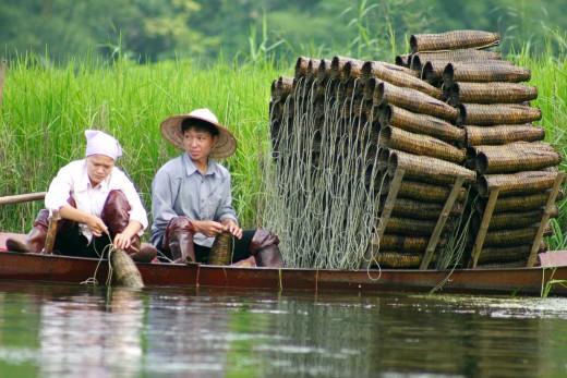 Fishing traps in Vietnam