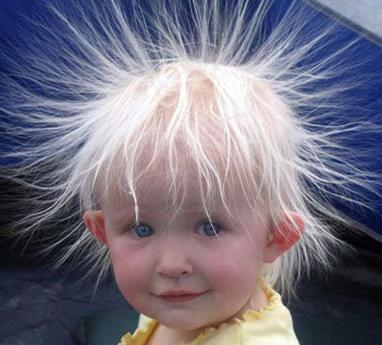 Static Electricity: the hair tend to fly up and separate. The hair strands have the same electrical charge and like-charges will repel thus the hair flying up and separating. The solution is to use anti-static sprays.