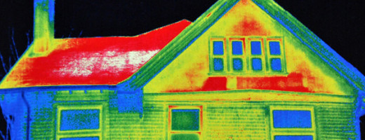 The Red in this Infrared Picture shows where the heat loss is occurring in the Home.
