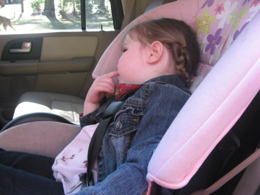Babies and toddlers usually do best in their own car seats.
