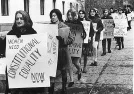Women marching for equal rights in 1970.