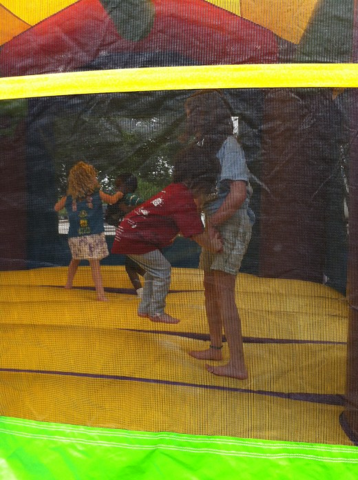 Last year at the Ronald McDonald Tap Top Pandemimonium.  Rayni helped Emma in the jump house.