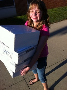 Rayni carrying Miracle Club Care Packages into the Post Office.  This is something she did often.  We would spread gifts out on the living room floor and procede to pack the boxes and talk about the MC kids.  She enjoyed this so much.
