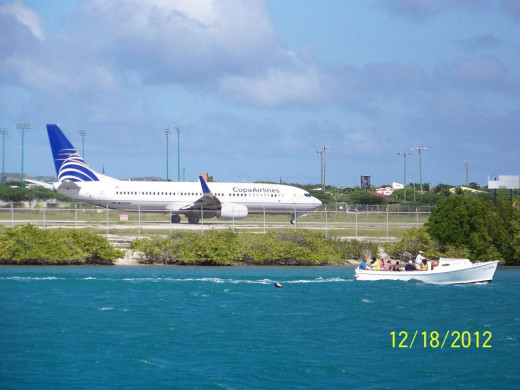 A Copa Airlines Plane Landing in Aruba, as Viewed from the Renaissance Island.