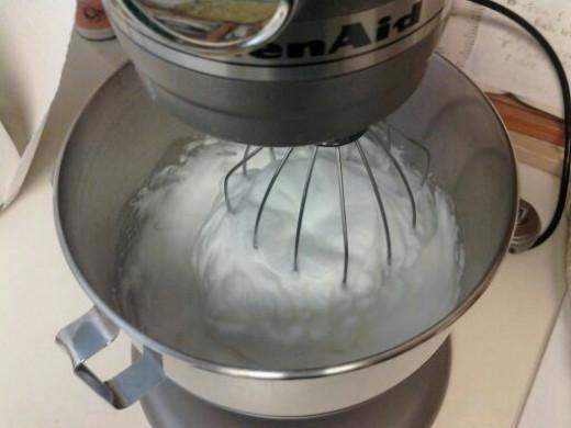 The egg white whipped up