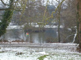 Lake at the University of Reading on a snowy winters day.