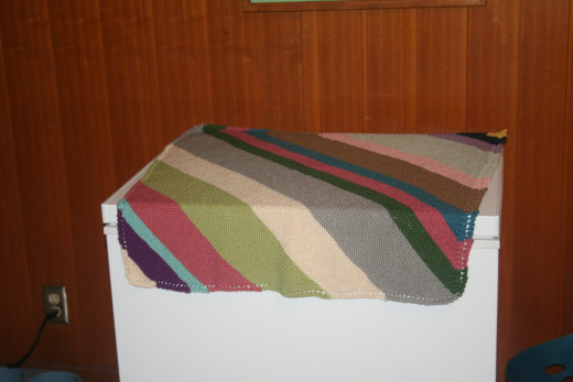 Completed Diagonal Stripe Blanket.