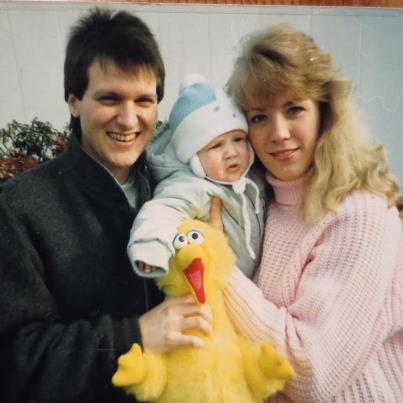 This is a picture of my husband, Steve, our baby, Steven (Jr.) when we first became parents in 1989.  Twenty-two years and two daughters later we are still so happy together.