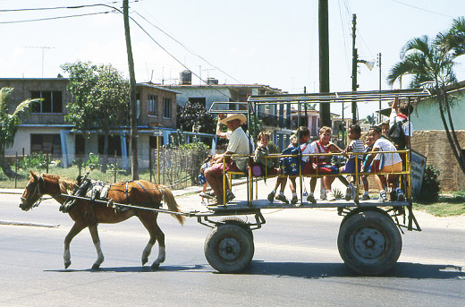 This school bus bringing children home from school in Santa Marta, near Varadero, Cuba was photographed by Henryk Kotowski on January 31, 2007.