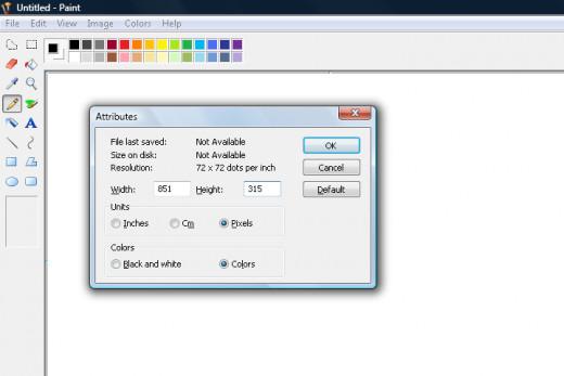 Edit the dimensions to 851 pixels (width) X 315 pixels (height).