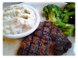 This was my plate at Cotton Patch and I must admit this was a very tender, juicy steak; the potatoes were like homemade and the broccoli was thoroughly cooked.