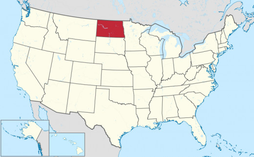 A Map of the US with North Dakota Highlighted