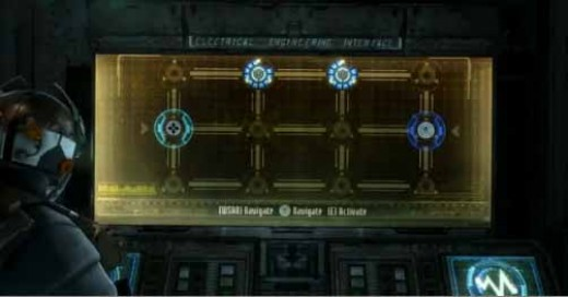 Dead Space 3 solve the first electrical engineering interface to unlock the lift and get to the admiral's quarters.