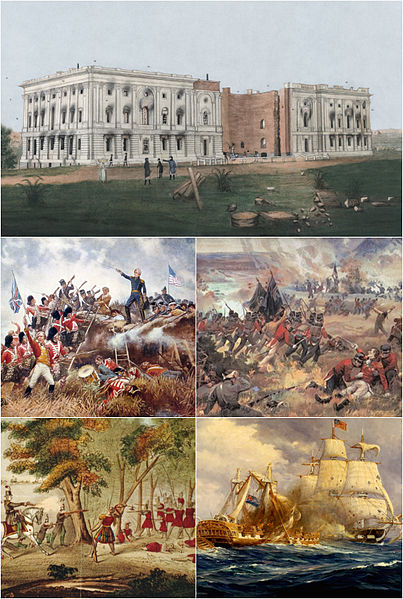 A montage depicting crucial events from the War of 1812.