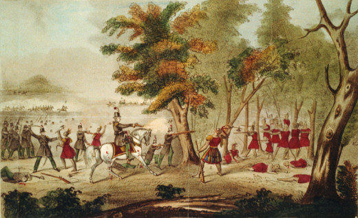 A painting showing Colonel Richard Johnson and his Kentucky volunteers fatally shooting Tecumseh.