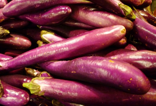 Chinese Eggplants for sale in the grocery store.