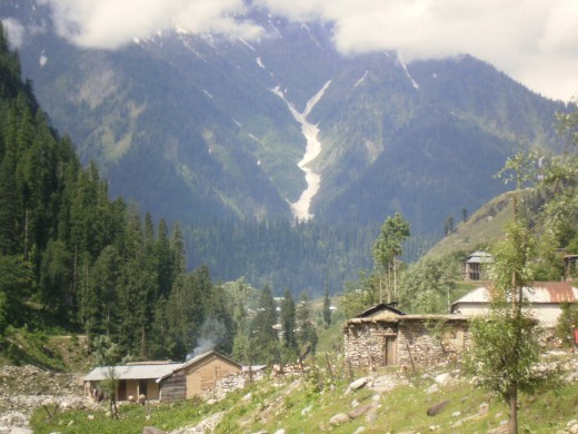 Kel town in Neelum Valley. After this, glaciers and snow become a common sight even during peak summer months.