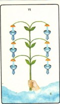 The Six of Cups in the Golden Dawn Tarot Deck, again not offering much in the way of symbolism for readers.