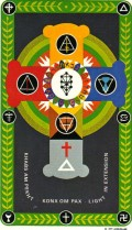 The Back of a card from the Golden Dawn Tarot deck, illustrated by Robert Wang, under direction from Israel Regardie. Notice the small Tree of Life symbol in the white circle in the center of the card.