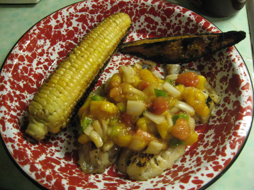 We like fruit salsa with grilled chicken, pork, and fish.