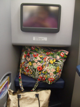 There are shelves underneath the entertainment system.  When the seat is fully reclined, it is level with the top shelf so that your feet have room to stretch.  Of course, it's a good idea to stow the bag overhead first.
