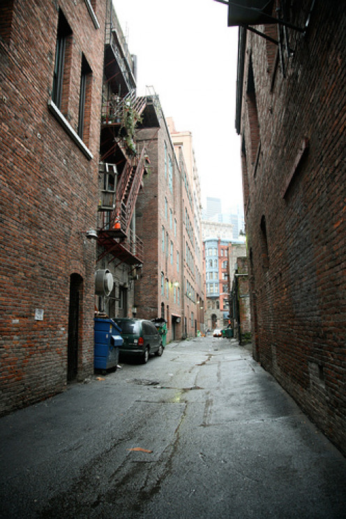 An alleyway near Occidental park, sometimes home to those who have lost hope.