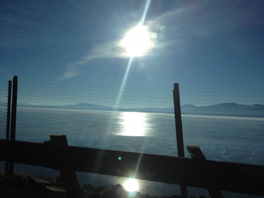 Klamath Lake is frozen over.