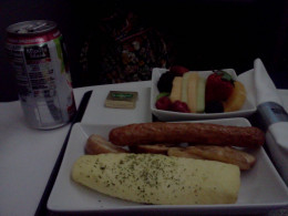For breakfast there was turkey sausage, broccoli omelette, and a small fruit plate