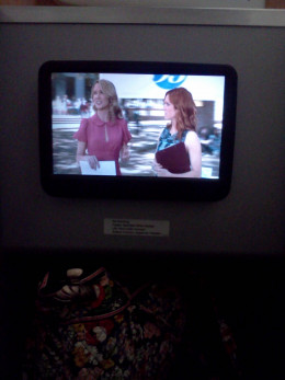 """A nice sized screen shows a scene from """"Pitch Perfect"""""""