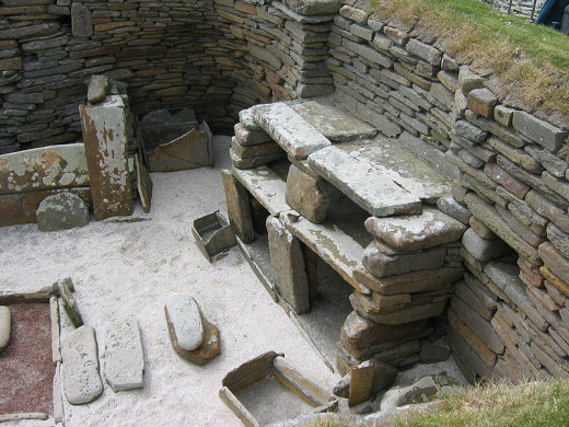 Part of a Neolithic settlement in Orkney, Scotland