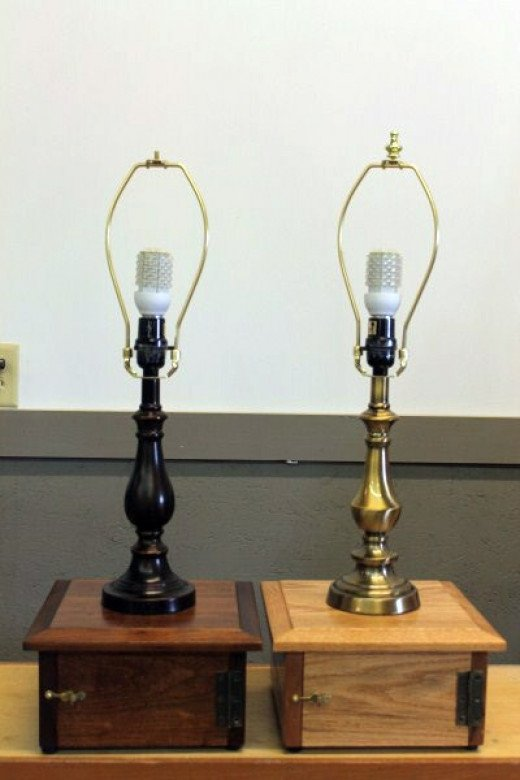 Table lamps use a 12 volt bulb and house a 12 volt sealed battery in the bottom compartment