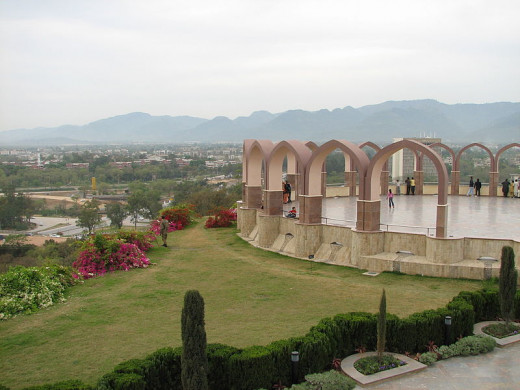 a view of Pakistan monument at Shakar Parian hills overlooking Islamabad