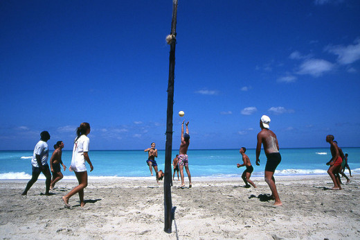 Beach volleyball players were photographed by Henryk Kotowski in Varadero, Cuba on January 31, 2007.