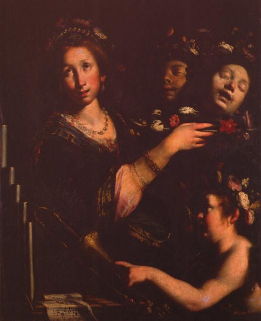 Bernardo Strozzi, Santa Cecilia con le teste di Valeriano e Tiburtio