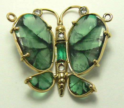 Butterfly made from Colombian Emeralds
