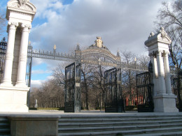 One of the many gates of Parque del buen Retiro.  That's the royal crest at the top.