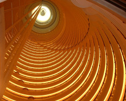 A bottom-up view of the 32 story Grand Hyatt atrium.