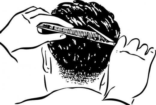 When your hair is brushed in the back, it's typically done downward, which will sweep hair down the back of your shirt, resulting in an itchy hair cut.