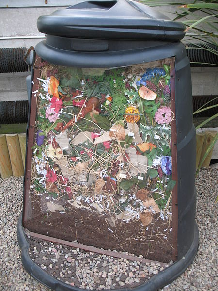cut away look at a cold compost bin.