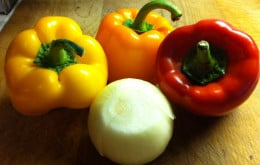 Peppers and onion.