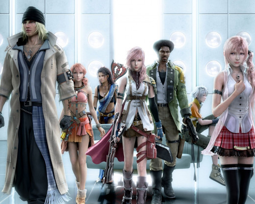 Playable characters in the game (with the exception of Serah) [left to right]: Snow Villiers, Oerba Dia Vanille, Oerba Yun Fang, Lightning, Sazh Katzroy, Hope Estheim, and Serah Farron