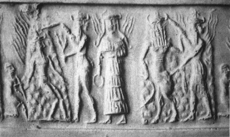 A goddess, possibly Inanna, flanked by demons in the Underworld, cylinder seal impression c.2330-2150 B.C