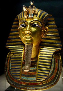 The Gold Mask of Tutankhamun, composed of 11 kg of solid gold, is on display at the Egyptian Museum