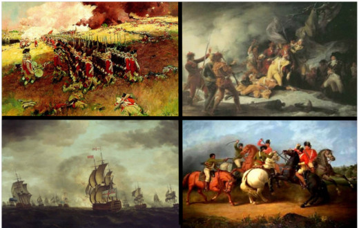 Images from the Revolution: Top left (Battle of Bunker Hill), Top right (Death of Montgomery at Quebec), Bottom left (Battle of Cowpens) and Bottom right (Battle of Cape St. Vincent)